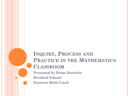 Inquiry, Process and Practice in the Mathematics Classroom