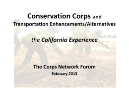 Conservation Corps and Transportation Enhancements/Alternatives