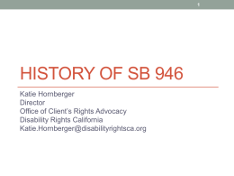 Katie Hornberger`s presentation: The History of SB 946