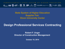 State System Design Professional Services Contracting Presentation