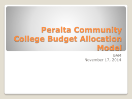 Peralta Community College Budget Allocation