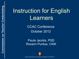 Instruction for English Learners
