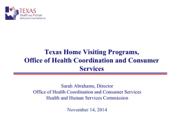 Presentation to House Committee on Public Health