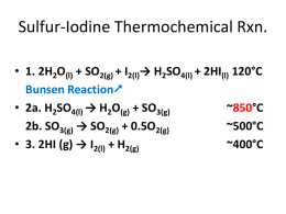 Sulfur Iodine Reaction for Hydrogen Production