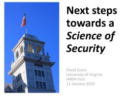 Next Steps Towards a Science of Security