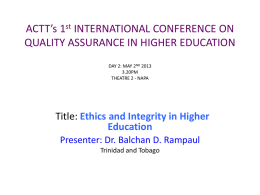 Dr. Balchan Rampaul - Ethics and Integrity in Higher Education