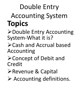 Double Entry Accounting System