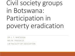 Civil society groups in Botswana: Factors facilitating - FES