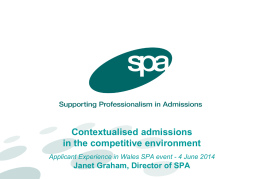 Contextualised admissions in the competitive environment