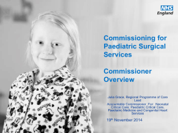 Commissioning for Paediatric Surgical Services