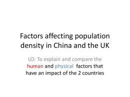 Factors affecting population density in China and the UK