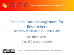 Research Data Management Forresterhill Session