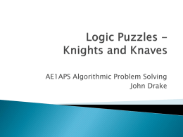 Lecture 5 Knights and Knaves.