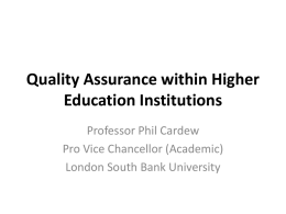 Quality assurance at programme level: establishing and assessing
