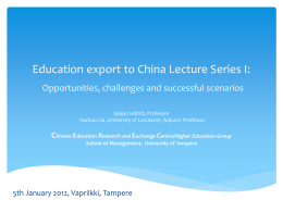 Education export to China: opportunities, challenges and possible