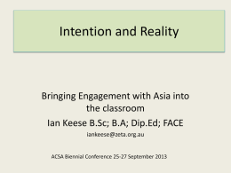 Intention and Reality - Australian Curriculum Studies Association