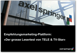 TELE, TV-STAR «Lesertest - Axel Springer MediaPilot