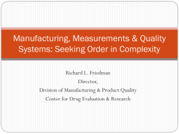 Manufacturing, and Seeking Order in Complexity