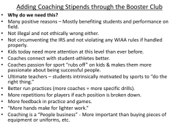 Adding Coaching Stipends through the Booster Club