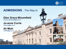 Admissions - The way in - University of Greenwich