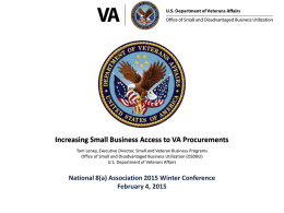 Increasing Small business Access to VA Procurements