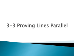 3-3 Proving Lines Parallel