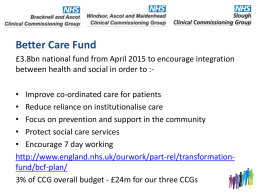 Better Care Fund - Bracknell and Ascot CCG