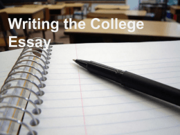 Writing the College Essay - Portage Community School District