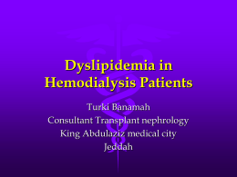 Dyslipidemia in hemodialysis patients