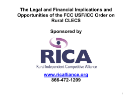 fcc icc/usf order - Rural Independent Competitive Alliance