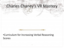 MCAT Chaney`s Verbal Reasoning Mastery Lecture Notes #2