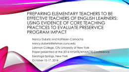 Preparing Elementary Teachers to Be Effective