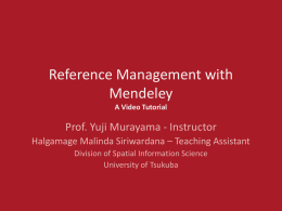 Reference Management with Mendeley -