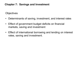 Ch. 7: Finance, Saving and Investment