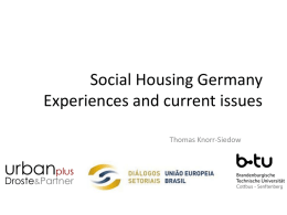 Social Housing Germany Experiences and current issues