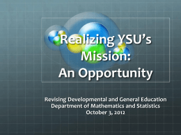 An Opportunity - Youngstown State University