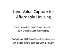 Land Value Capture: The San Francisco case