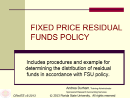 Fixed Price Residuals - Florida State University