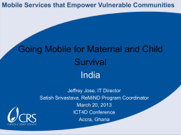 Going mobile for maternal and child survival
