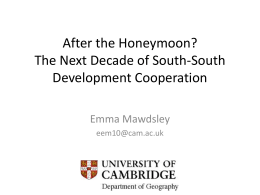 The Next Decade of South-South Development Cooperation