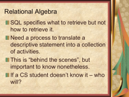 Relational Algebra and Query Optimization