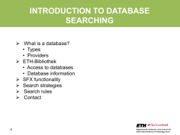 INTRODUCTION TO DATABASE SEARCHES - ETH