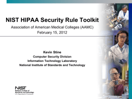 NIST HIPAA Security Rule Toolkit