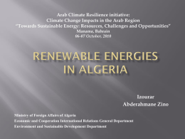 Renewable Energies in Algeria - Arab Climate Resilience Initiative