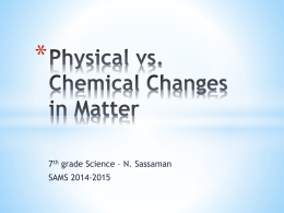 Physical vs. Chemical Changes in Matter