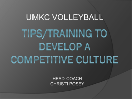 Tips/Training to Develop a Competitive Culture