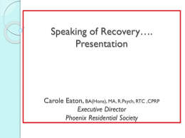 Speaking of recovery… presentation