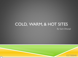 Cold Warm Hot Backup Sites - cct355-f12