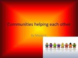 communities helping each other Maiya