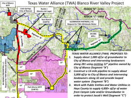 Presentation of TWA Blanco River Valley Water Management Strategy